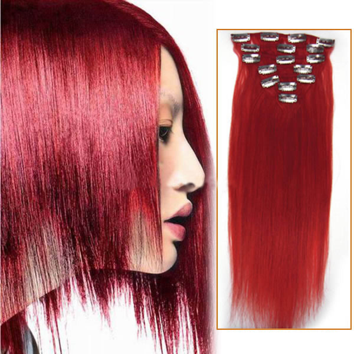 18 Inch Red Clip In Remy Human Hair Extensions