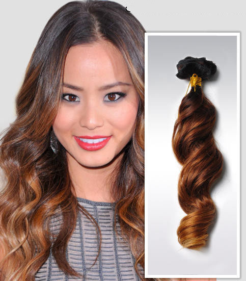 26 Inch Golden Ombre Clip In Human Hair Extensions Three Tone Body Wave 9pcs