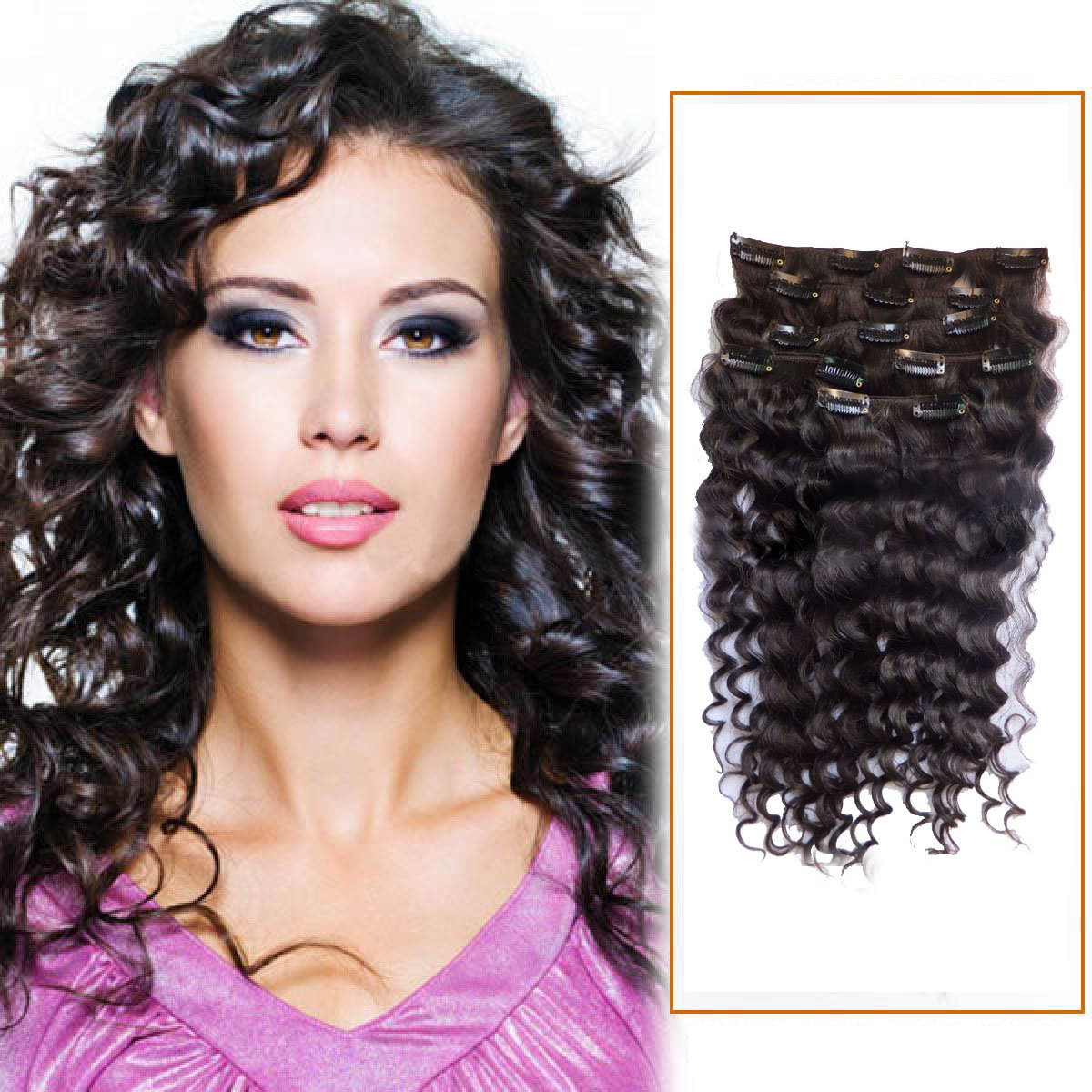 Superb 30 Inch 2 Dark Brown Clip In Human Hair Extensions Deep Curly 7 Pcs Schematic Wiring Diagrams Amerangerunnerswayorg