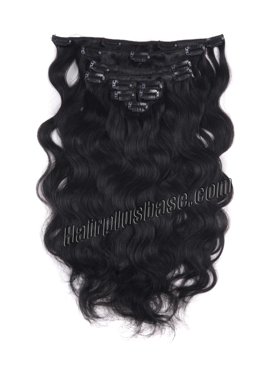 30 Inch Mysterious 1 Jet Black Clip In Indian Remy Hair Extensions Body Wave 7 Pcs
