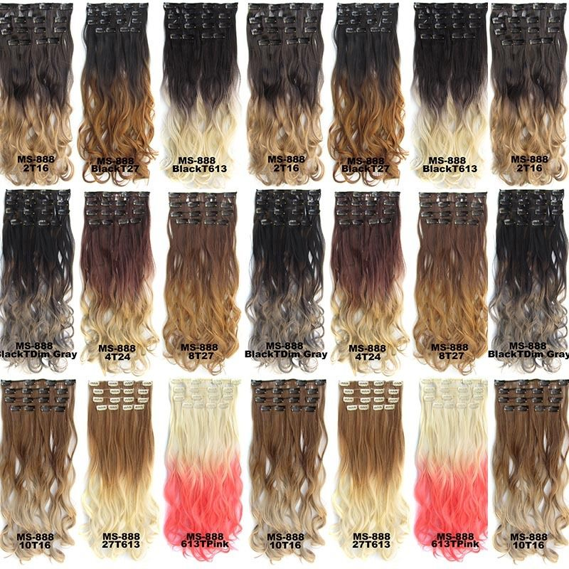 Clip In/On Dip Dye Ombre Full Head Synthetic Hair Extensions ...
