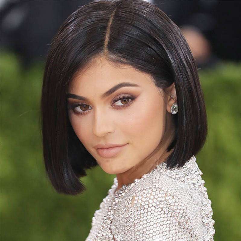 Kylie Jenner Style Glueless Lace Front Wigs Indian Remy Hair Short Bob Wig Yaki Straight