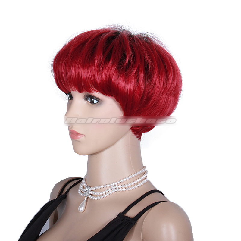 Rihanna Inspired Short Red Human Hair Wig With Full Fringe Nr 03 Hairplusbase Com